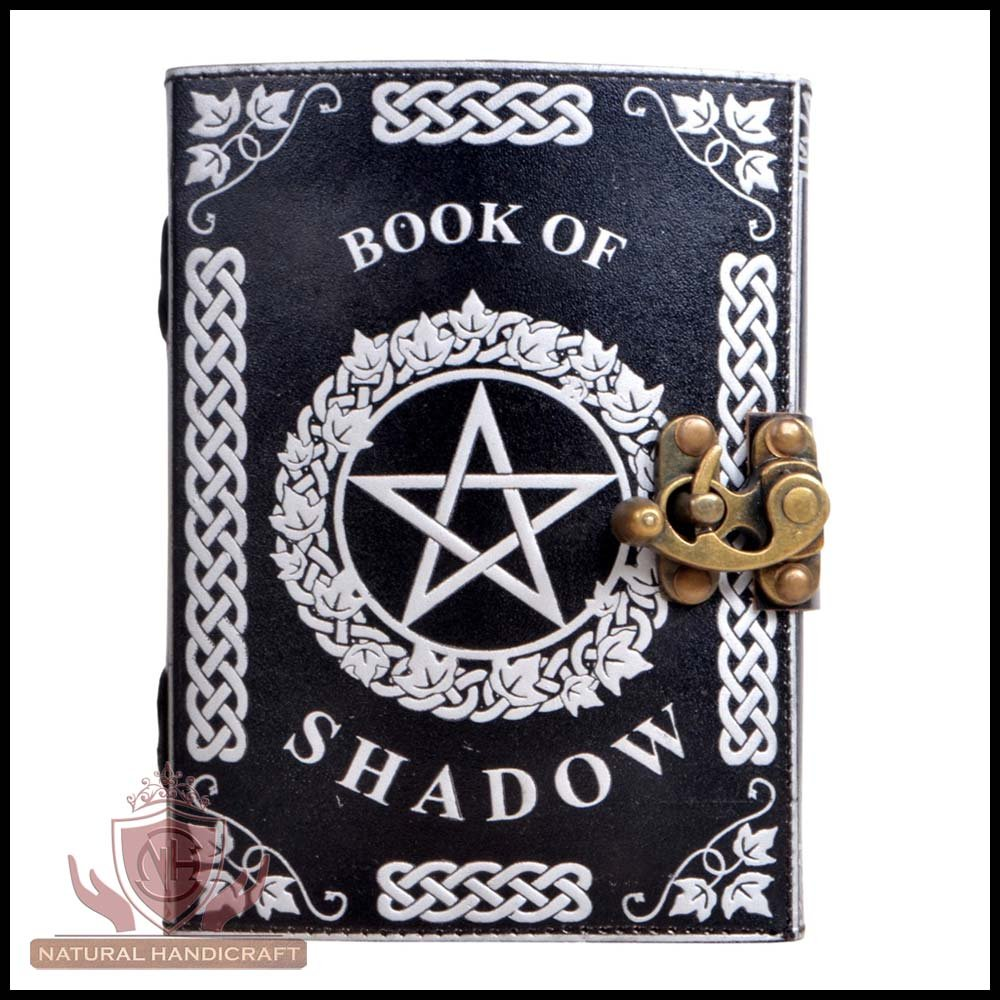 Leather Journal Silver Pentagram Witchcraft Embossed Handmade Book of Shadows Wicca Pagan Pentacle Notebook Office Diary College Book Poetry Book Sketch Book 5 x 7 Inches for Men and Women
