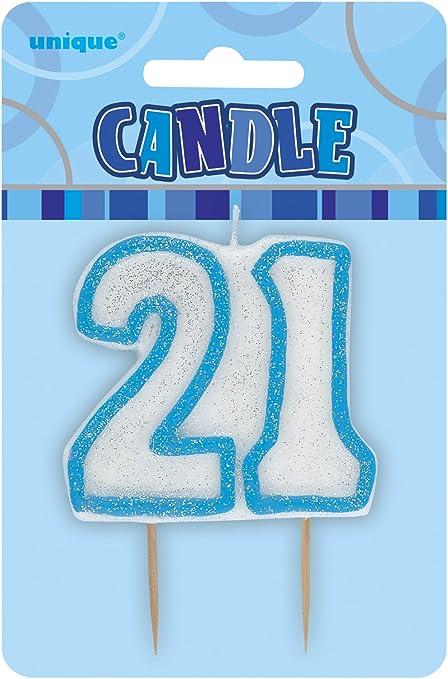 GLITZ SILVER AGE 21 CAKE CANDLE HAPPY BIRTHDAY PARTY TABLEWARE DECORATION