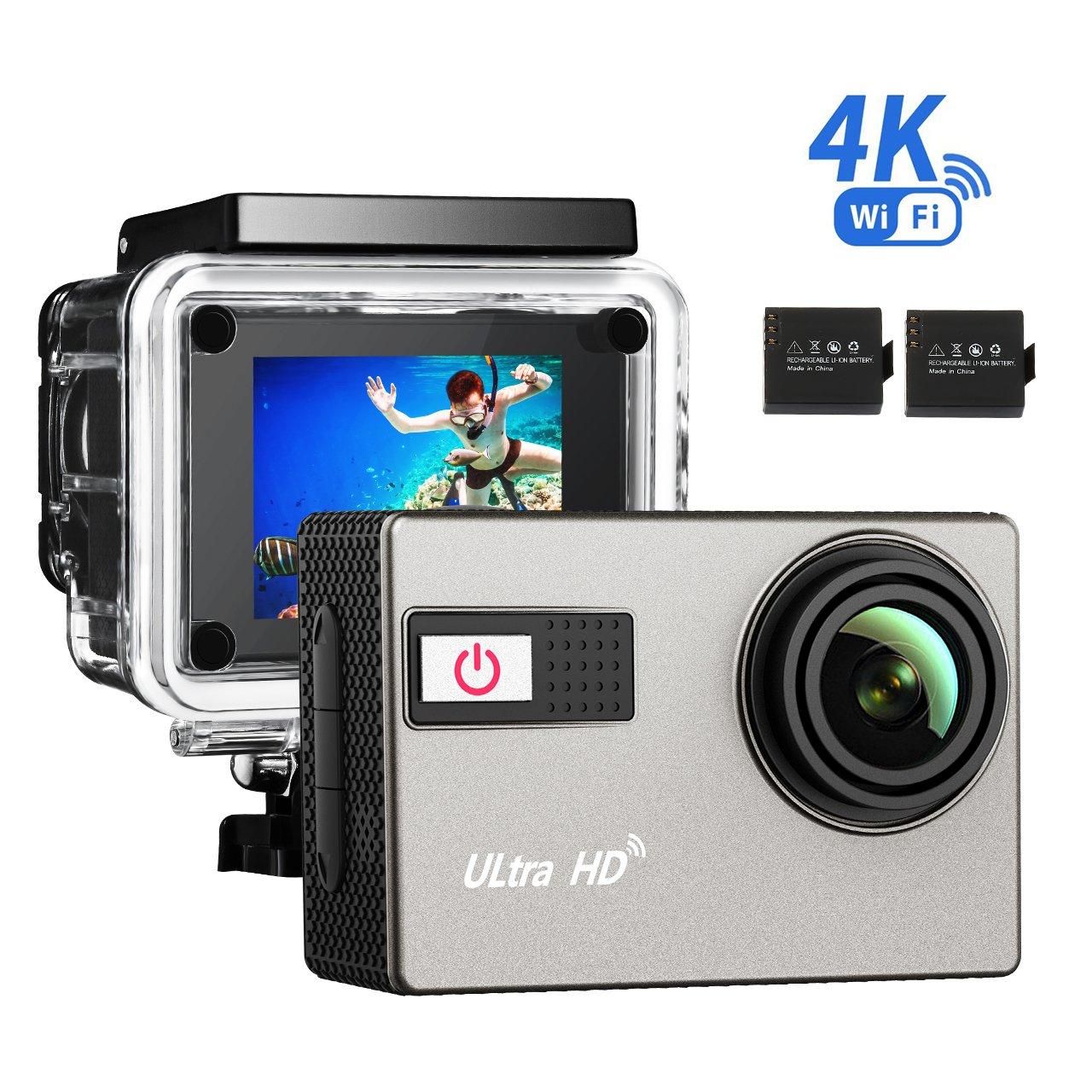 Topop Caméra de sport noire / 4K HD 1080P Wifi DV / étanche, angle de 170° / 2pouces