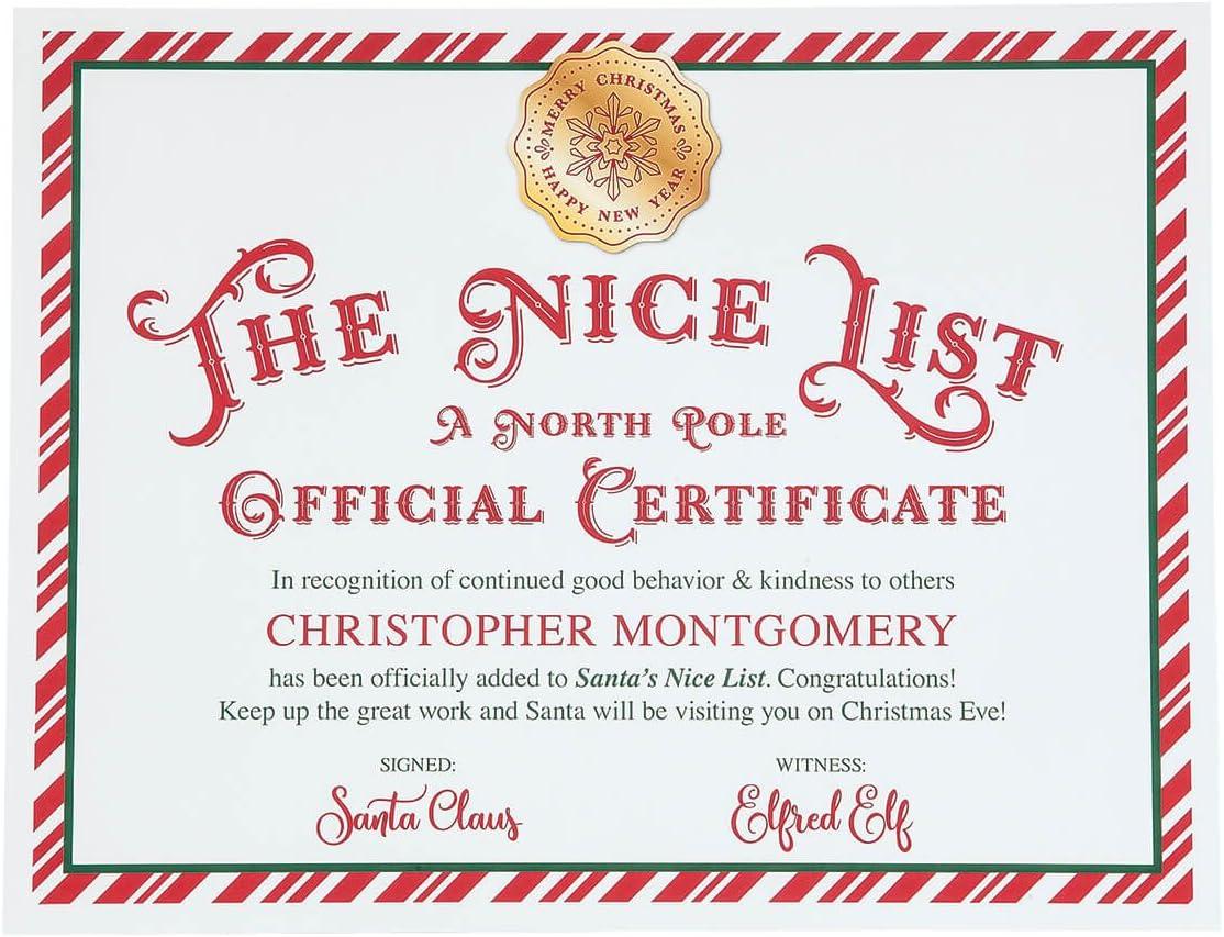 Personalised Girls Boys Good Nice List Christmas Certificate from Santa x 1