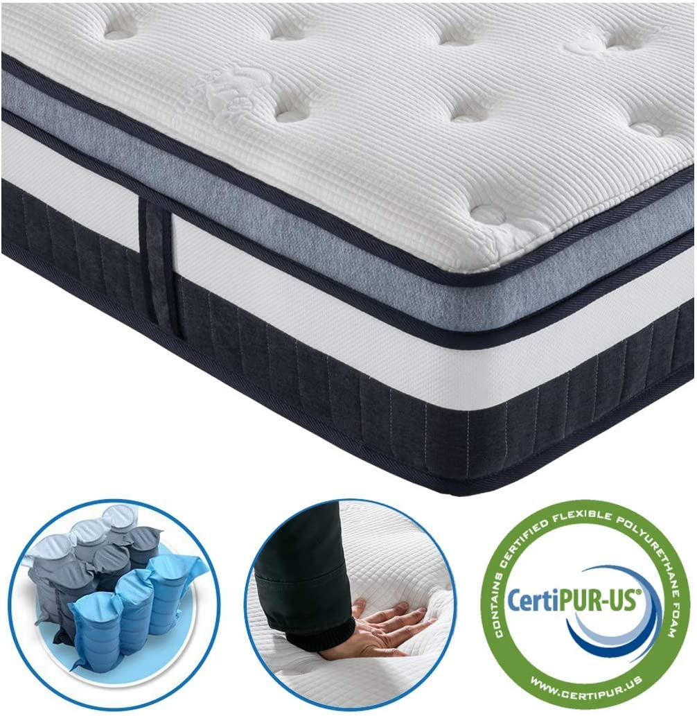 Full Mattress – Vesgantti Innerspring Multilayer Hybrid Full Size Mattress – Ergonomic Design with Breathable Foam and Pocket Spring Mattress Full Size – Box Top Series Medium Plush Feel