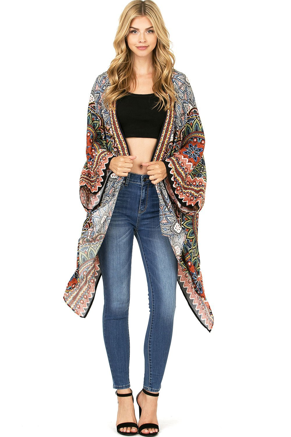 Flying Tomato Women's Bohemian Prints Inspired Drapey Cardigan (M/L, Black Mix)