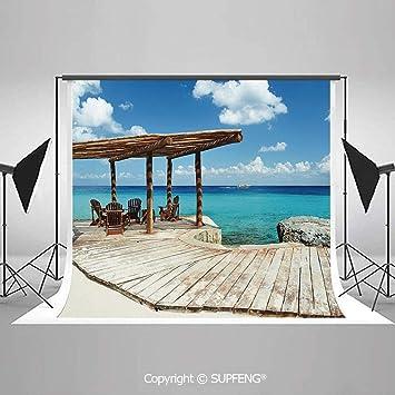 Telones de Fondo de fotografía de Madera para terraza Junto a la Playa con Fondo de Fondo de fotografía en 3D de Veranda de Agua Azul vívida: Amazon.es: Electrónica