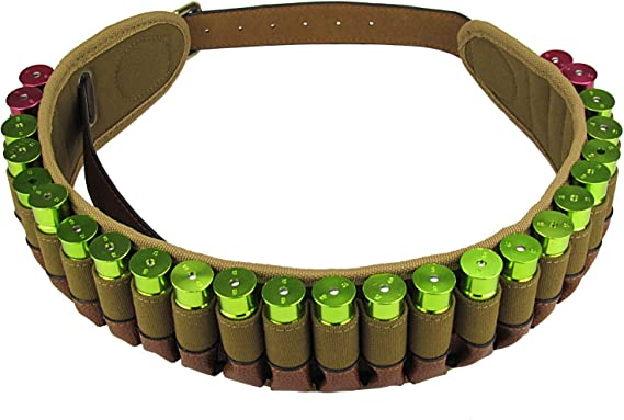 TOURBON Hunting Shooting 20GA/12GA Shotshell Bandolier Ammo Cartridge Belt - Canvas and Leather