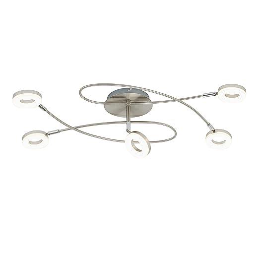 Briloner Leuchten LED Lámpara de techo, lámpara de techo de salón dormitorio en aspecto curvado con giratorios y focos orientables, luz blanca cálida, ...