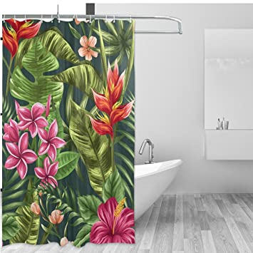 Tropical Theme Home Decor Shower Curtain Set By ALAZA,Hawaii Natural Palm  Tree Leaves Floral