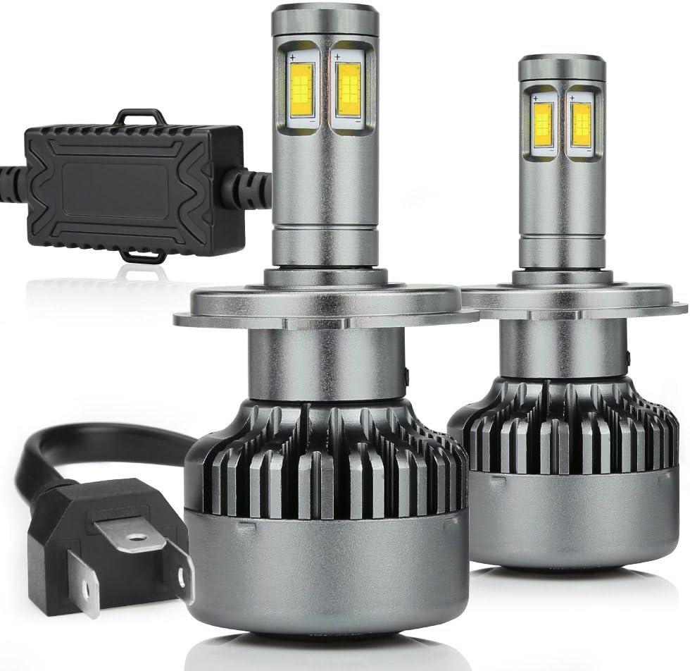 14000LM H4 Led Headlight Bulbs 100W Hi lo Beam HB2 9003 Led Bulbs Conversion Kits 4 Sides 6000k Driving Fog Lamps Motorcycle Car Truck ZDATT