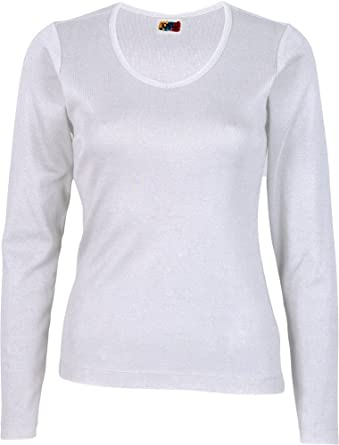 Camiseta Manga Larga Mujer 100% ALGODÓN Blanca: Amazon.es: Ropa y accesorios