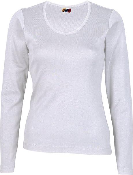 Camiseta Manga Larga Mujer 100% ALGODÓN Blanca (XS)