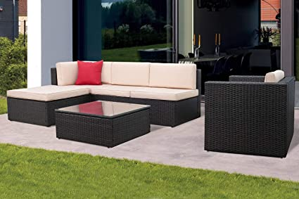 Superb Kaimeng 6 Piece Lawn Garden Outdoor Patio Furniture Sets Wicker Black Ratten Sectional Sofa Sectional Conversation Set With Seat Cushions And Single Home Interior And Landscaping Ponolsignezvosmurscom