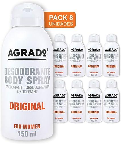 Agrado - Desodorante Spray Original, mujer 150 ml - Pack de 8 ...