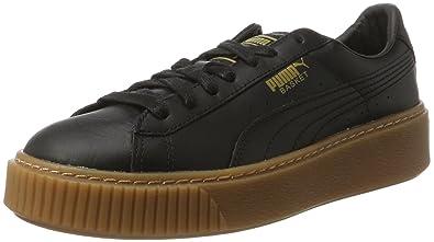 puma damen basket platform patent sneaker schwarz
