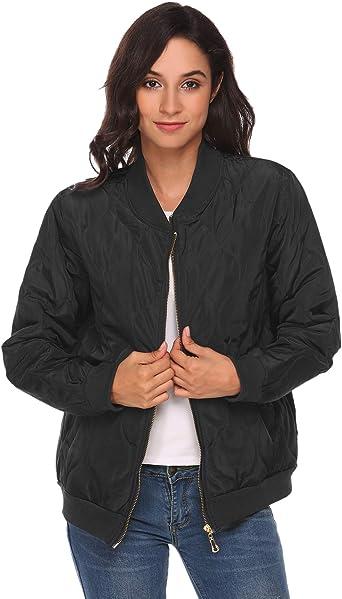 Beyove Womens Casual Padded Zipper Short Bomber Coat Outwear Biker Quilted Jacket