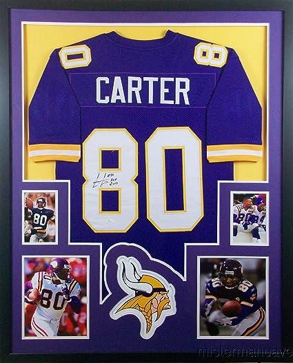 ad7c95fe4 Cris Carter Minnesota Vikings Autograph Signed Custom Framed Jersey HOF  Inscribed JSA Certified