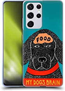 Head Case Designs Officially Licensed Stephen Huneck Dogs Brain Food Sally Humour Soft Gel Case Compatible with Samsung Galaxy S21 Ultra 5G