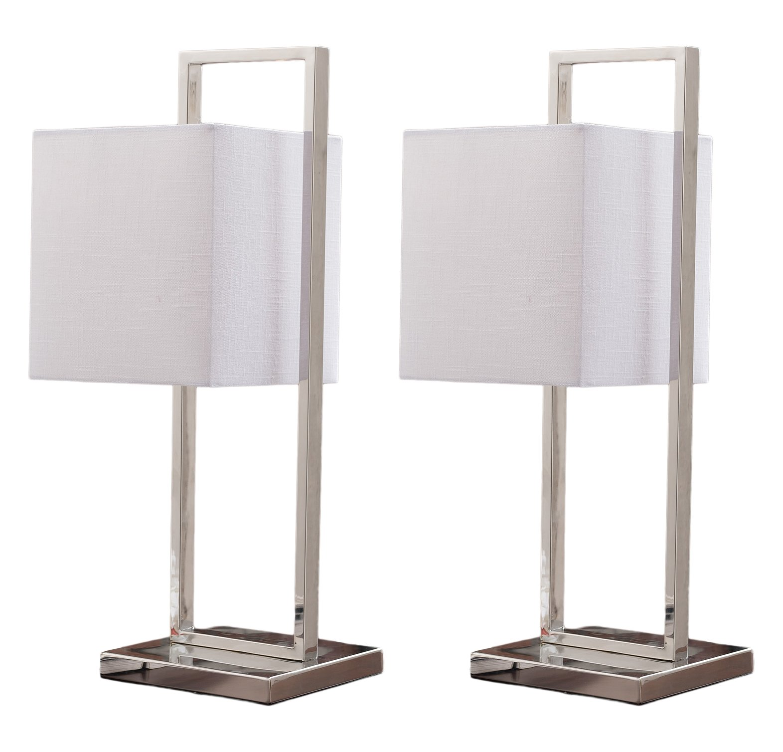 Kings Brand Nicksville Stainless Steel With White Fabric Shade Square Table Lamps, Set of 2