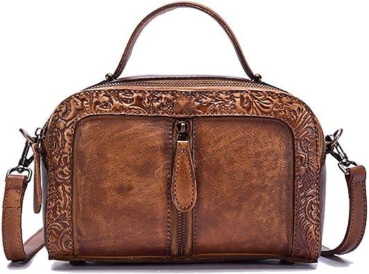 Genuine Cow Leather Women/'s Embossed Retro Shoulder Crossbody Bag Messenger Bags