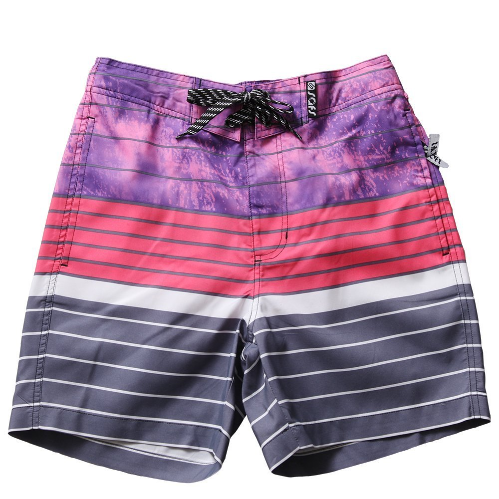 SAFS Women's Swim Trunks Striped Board Shorts Surf Pants Style Purple 2