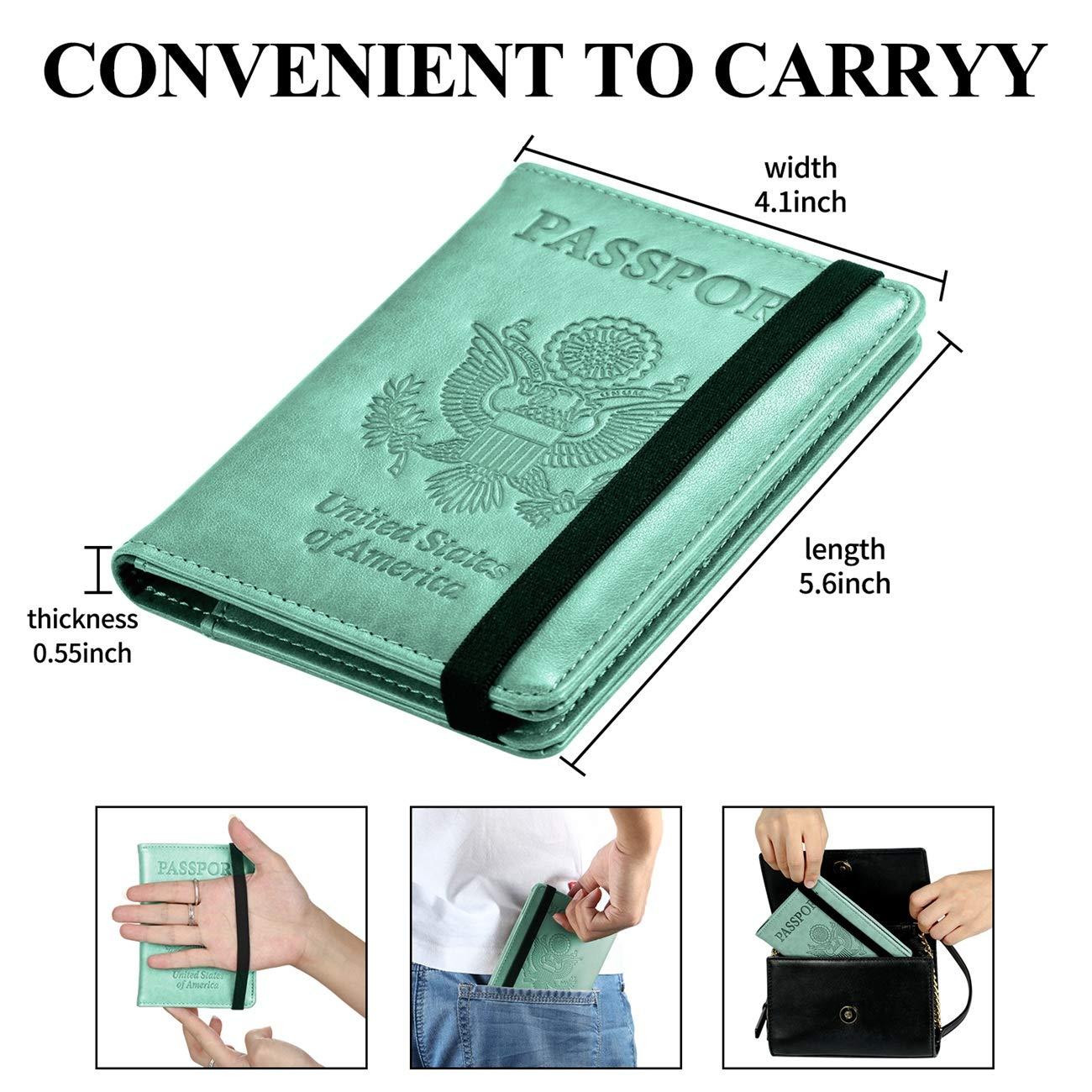 Passport Holder Cover Travel Wallet RFID Blocking Leather Card Case