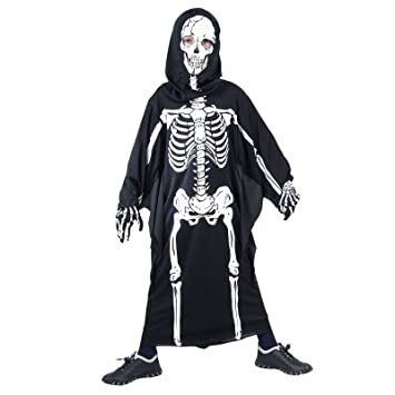 7 9 years scary skeleton dementor skull hood halloween gloves fancy dress costume for boys