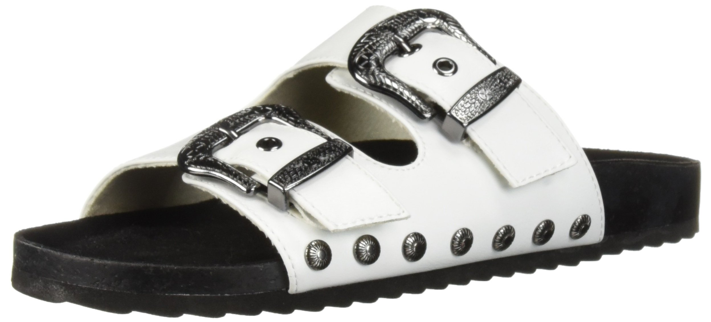 Fergalicious Women's Louie Slide Sandal, White, 8.5 M US