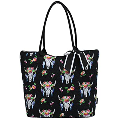 b960517c7fad Ngil Quilted Cotton Medium Tote Bag 2018 Spring Collection (Bull Skull  Black)