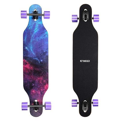 ENKEEO 23x103 5cm Longboard Monopatín con Rodamiento de ABEC 11 y 9 Capas Flexible de Arce Tabla Completa Fantasía