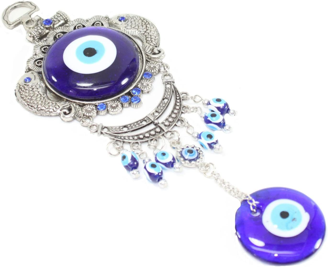 Turkish Blue Evil Eye (Nazar) Carps Fish Amulet Wall Hanging Protection Home Decor Blessing Gift