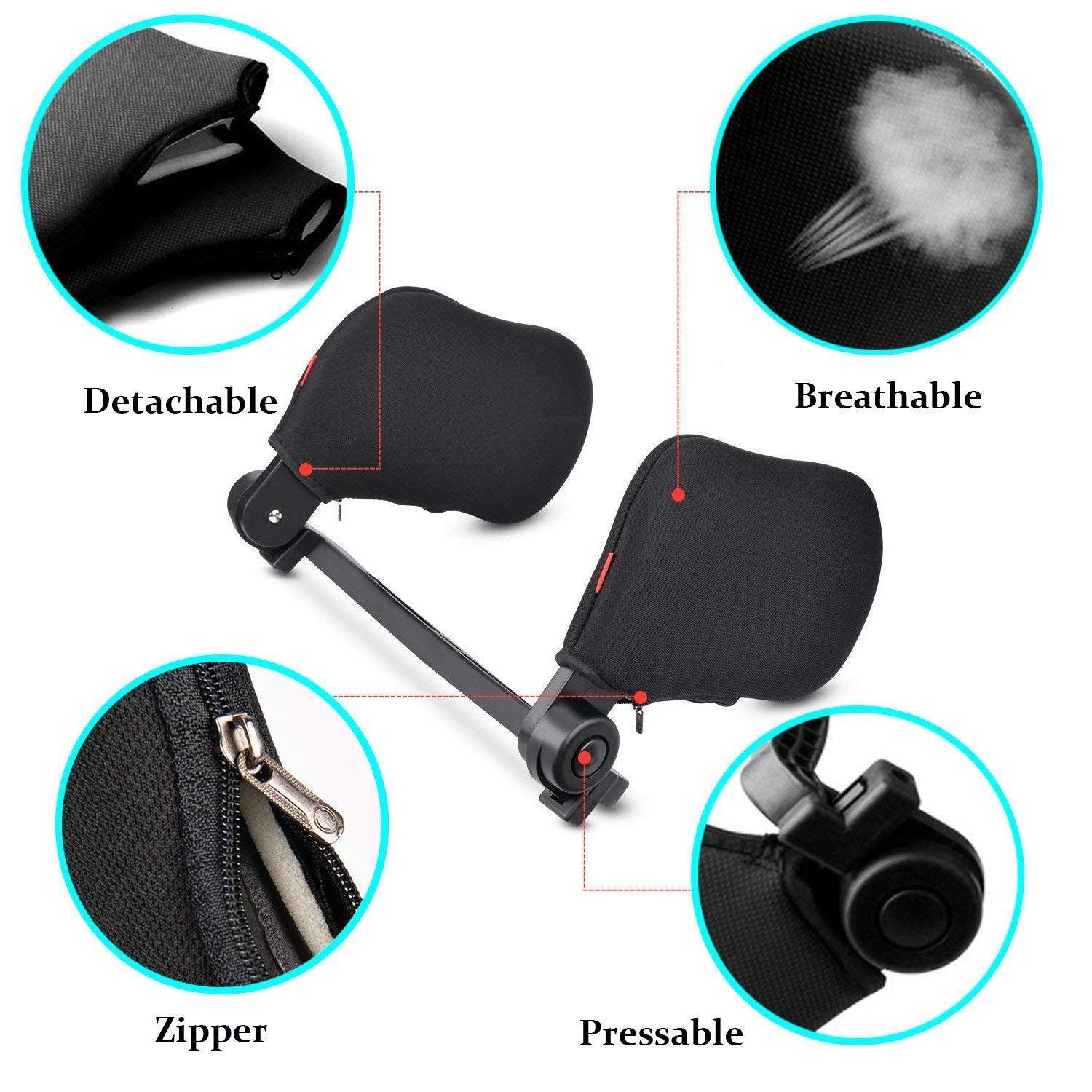 Car Seat Headrest Car Neck Pillow Neck Support Suitable for Adult and Kids Black Retractable Support on Both Sides Car Seat Headrest TINDERALA Neck Pillow with High Elastic Nylon