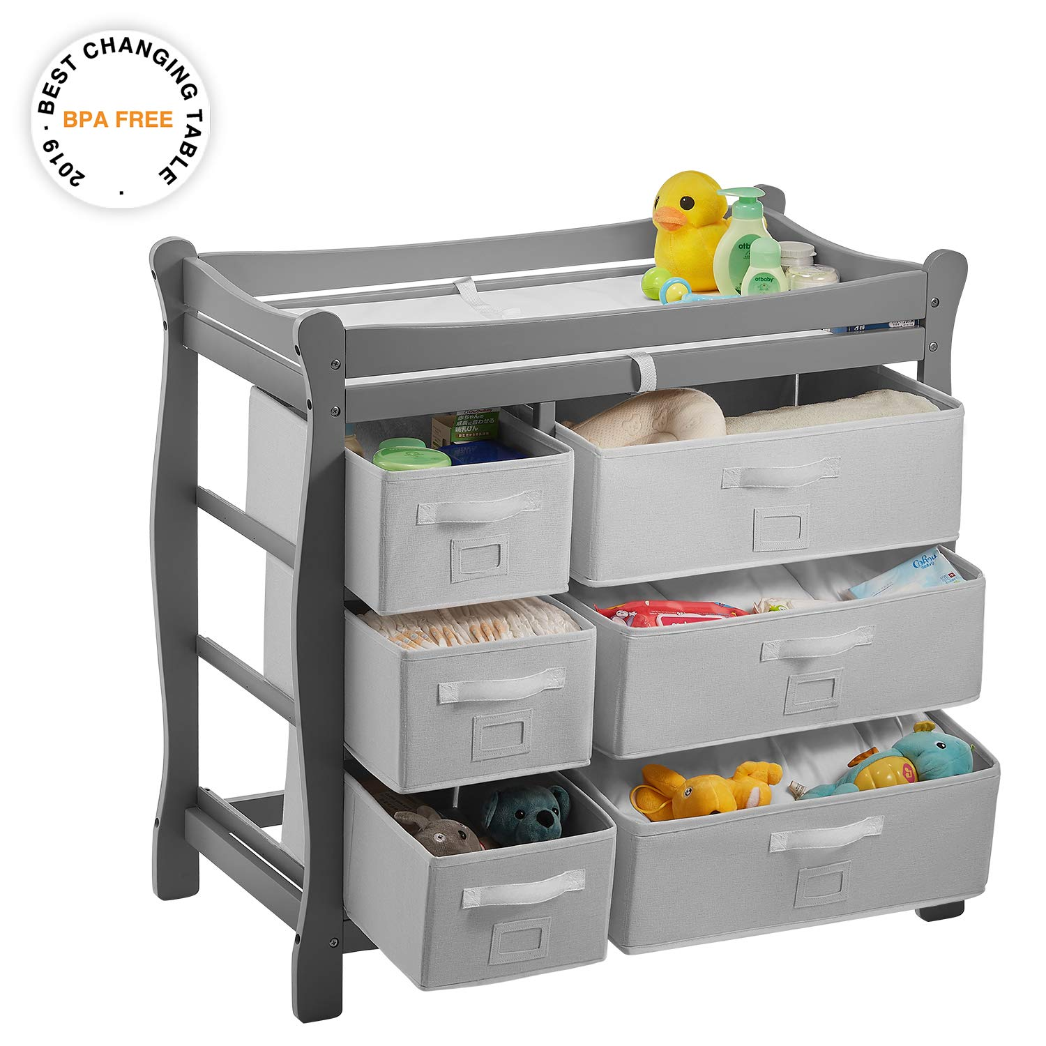 Kealive Baby Changing Table, Diaper Changing Table with 6 Baskets, Nursery Station with Pad and Safety Strap for Infant, Easy to Assemble, BPA Free