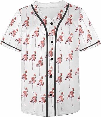 INTERESTPRINT Mens Button Down Baseball Jersey Flamingos