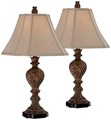 Regio Traditional Table Lamps Set of 2 Carved Brown Leaf Tan Sheer Fabric  Square Bell Shade for Living Room Family Bedroom - Regency Hill