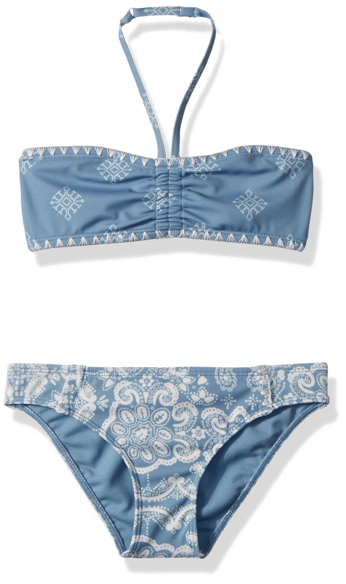 Roxy Big Girls' Nautical Summer Bandeau Swimsuit Set, Blue Shadow Bandana Kids, 7