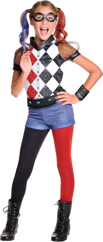Rubie's 620712 - DC Super Hero Girls Harley Quinn Deluxe, Traje de niño, S (3-4 años)