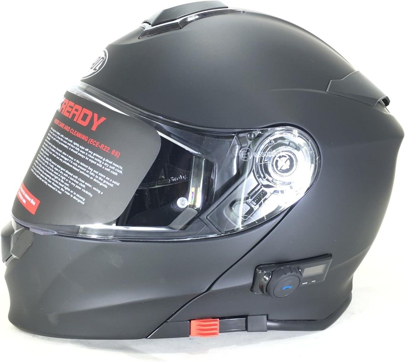 VCAN V271 BLINC BLUETOOTH FLIP FRONT HELMET New Motorbike MP3 SAT NAV FM Intercom Modular Helmet Matt Black With CARE KIT /& BALACLAVA