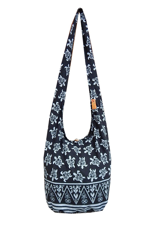 BTP! Turtle Sling Crossbody Shoulder Bag Purse Hippie Hobo Thai Cotton Gypsy Bohemian Large (Black OW1)