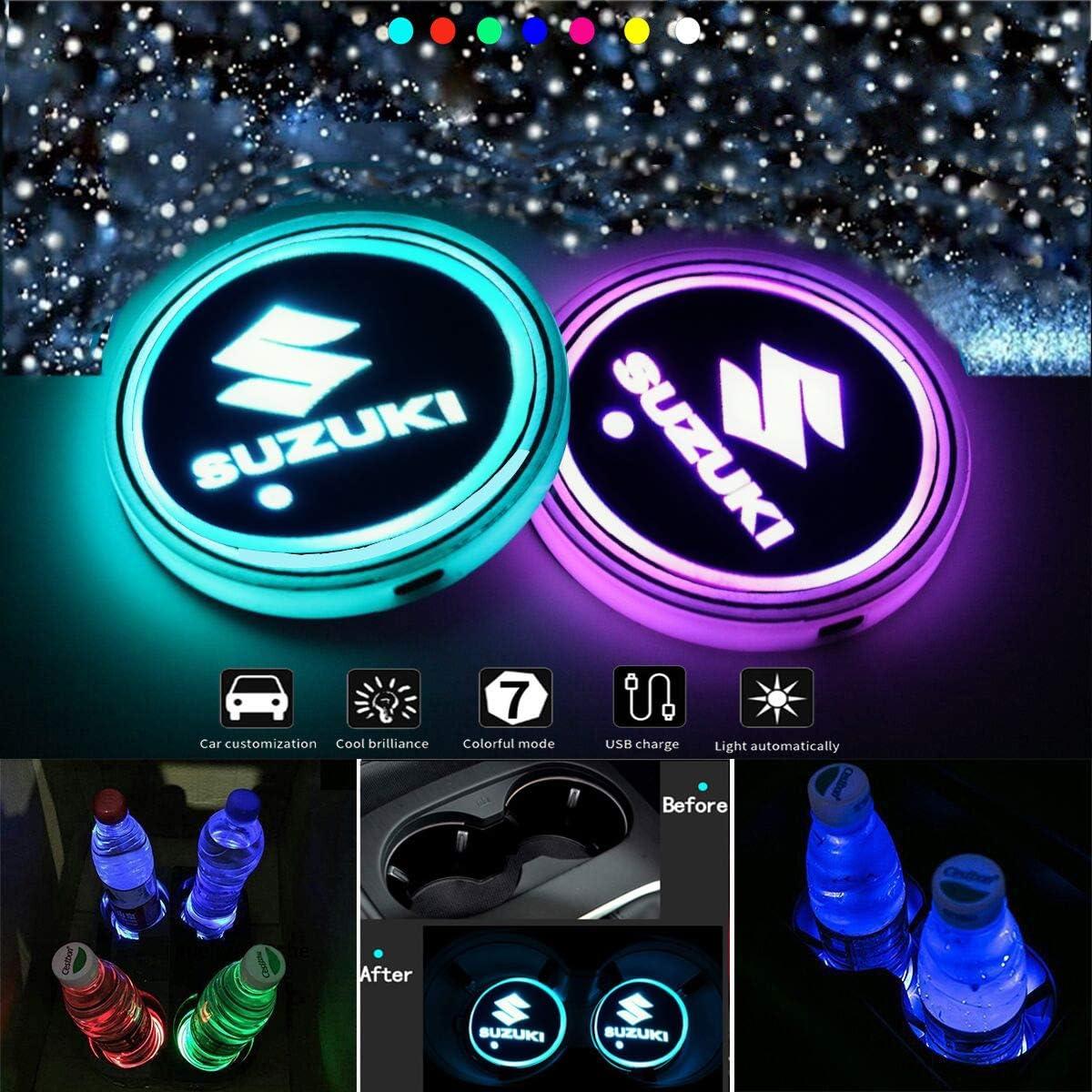 J.MOSUYA Getr/änkehalter Auto LED Untersetzer 7 Farben USB Lade Becherhalter Lumineszenz Tasse Halter LED innenbeleuchtung Auto Lampe Dekoration Licht,M