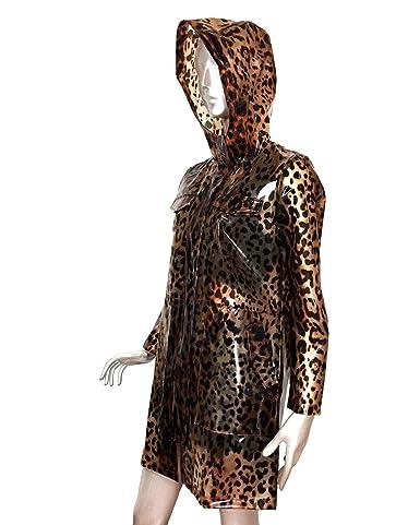 1b360a0bbbd2 Uterque Women's Leopard Print Raincoat 0626/550 Black: Amazon.co.uk:  Clothing