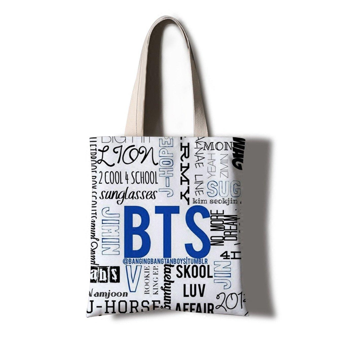 JUSTGOGO KPOP BTS Bangtan boys Casual Messenger Bag Cross-body Bag Shoulder  Bag Travel Bag Handbag Tote Bag (2)