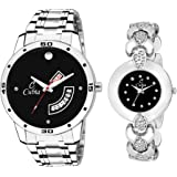 Cubia CB-1344 Classy Black Dail Couple Pair Watch