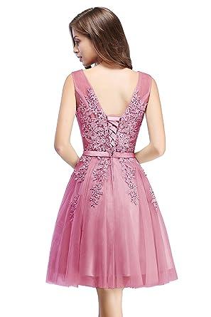 MisShow Damen Prinzessin Tüll V-Ausschnitt Brautjunfernkleid ...