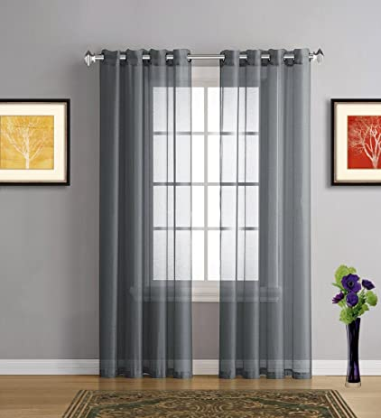 Warm Home Designs Charcoal Sheer Curtains. 2 Grommet Curtain Panels Are 54  By 84 Inch