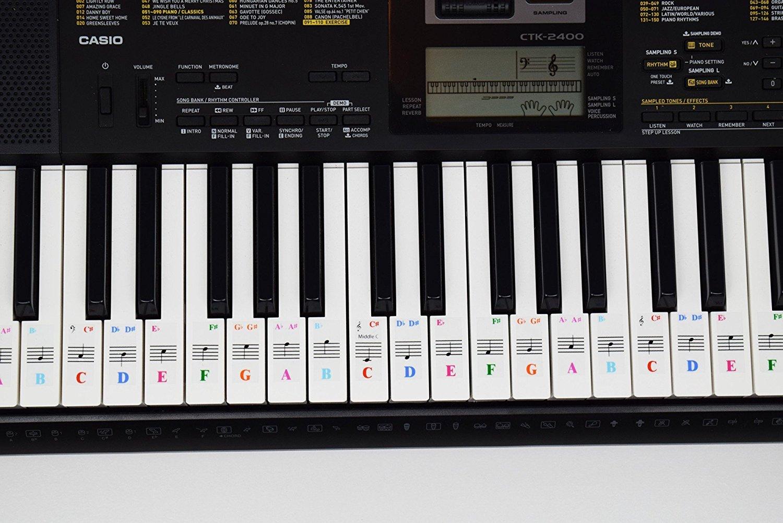 Pegatinas para pianos de 61 teclas; transparentes y extraíbles. Viene con libro electrónico gratis para aprender piano. Fabricado en EE. UU.