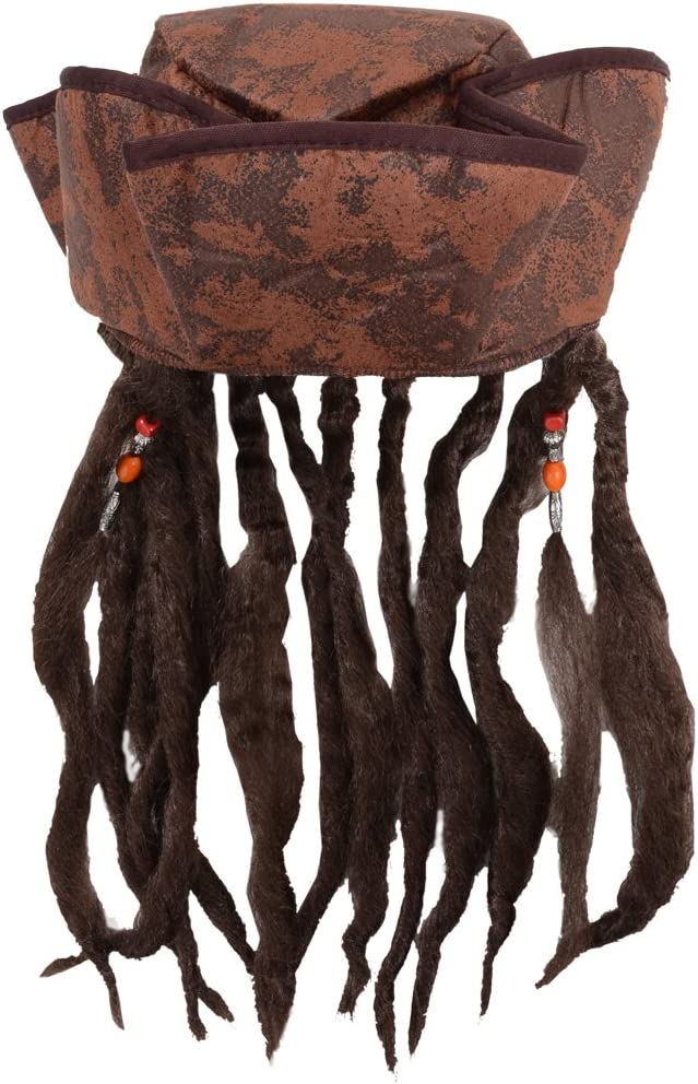 Caribbean Jack Sparrow Fancy Dress Hat With Hair & Beads (peluca)