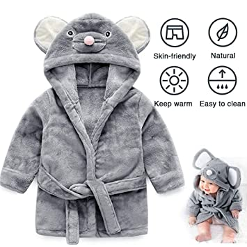 UMODE Baby Hooded Bathrobe Cute Mouse Design Flannel Ultra Soft Robe for 0-9 Months Baby