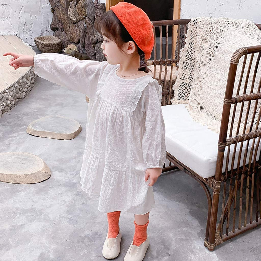 Baby Girls Cotton Linen Dress Summer Beach Party Princess Dress Pleated Ruffles Casual Loose Sundress Outfits Clothes