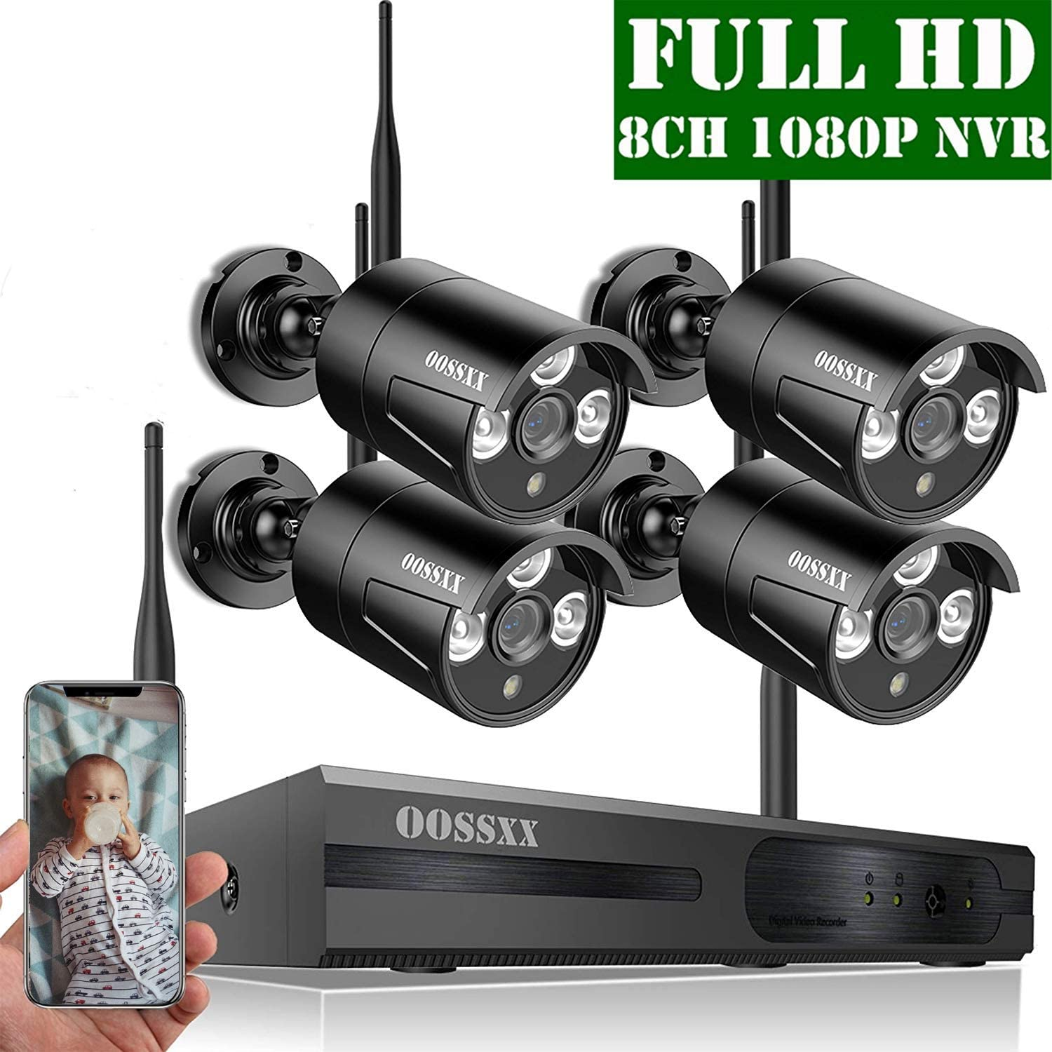 【Expandable 8CH】 OOSSXX HD 1080P 8-Channel Wireless Security Camera System,4 pcs 1080P 2.0 Megapixel Wireless Weatherproof Bullet IP Cameras,Plug Play,70FT Night Vision,P2P,App, No Hard Drive