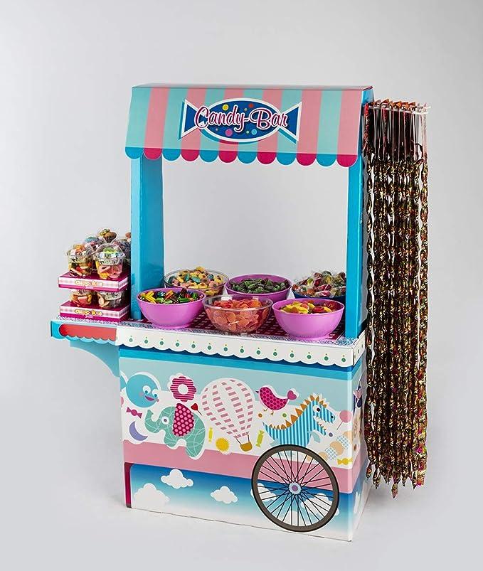 Candy Bar Sin Bandeja Vacío La Asturiana - Carrito de Mesa Dulce en Cartón Publicidad de Marca - Fácil de Montar y Reutilizable - 122 cm (Alto) x 89 cm ...