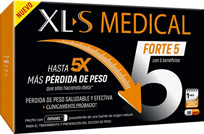 XLS Medical Forte 5 - Captagrasas para Perder Peso, Origen Natural 100% Vegano, 180 Cápsulas, 1 Mes: Amazon.es: Salud y cuidado personal