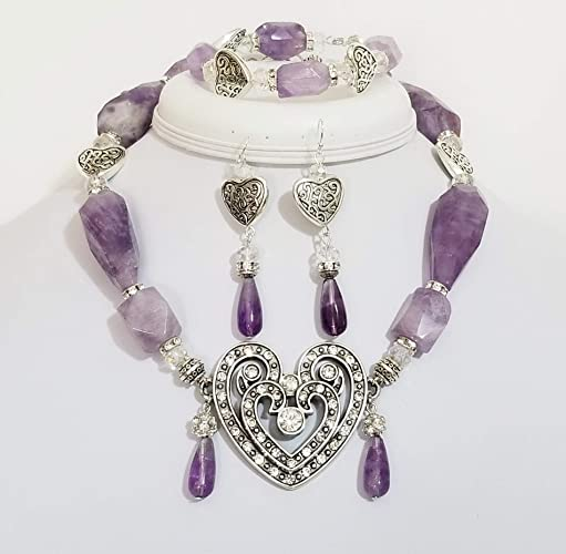d7d224d118653d Amazon.com: Big Brighton Swarovski Crystal Silver Heart Amethyst ...